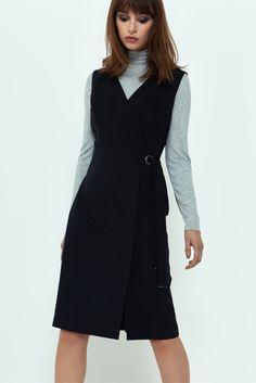 Wrap Pencil Dress, Black