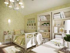 детская комната в стиле кантри в зеленых тонах