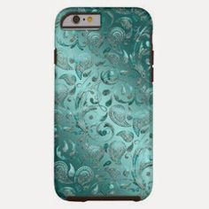 Shiny Paisley Turquoise iPhone 6 Case Contoured precisely to fit the iPhone 6 with 4.7 inch screen, this Case-Mate case features a hard shell plastic exterior and shock absorbing liner to protect your device. http://livinggood-entrepeneural.blogspot.com/2014/11/gifts-for-her-under-100.html