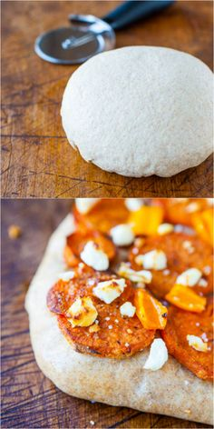 One Hour Whole Wheat Pizza Dough (vegan) - Make homemade pizza tonight with this easy, soft, healthy dough that's ready in 1 hour & can be made in advance!