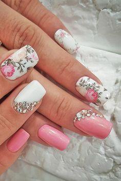 Unhas decoradas floral rosa