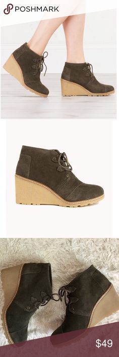 """✨NWOT✨TOMS Wedge Booties NEW TOMS Desert Wedge Booties in Olive Suede/leather. Heel height 2.5"""". Small mark on heel as shown in photo. ⚡️⚡️OFFERS WELCOME⚡️⚡️ Toms Shoes Ankle Boots & Booties"""