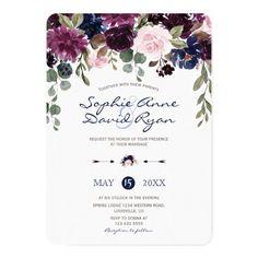 Charm Lavender Navy Blue Floral Bloom Wedding Card Customizable Invitations #beach #summer #wedding #invitation #weddinginvitation