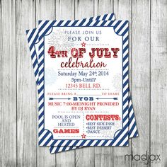 4th of july invitation chalkboard bbq invitation for fourth of