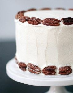 Banana Cake with Praline Filling and White Chocolate Ganache | Love and Olive Oil