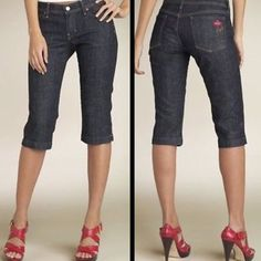 CITIZENS OF HUMANITY BISOU STRETCH BANDOT CAPRIS Citizens of Humanity Denim Capri Size 26 Zip fly with button closure. Lip embroidery on back pocket..Five-pocket style. Belt loops. Back yoke. Side slits at hems. Cotton/elastane. Like new condition Citizens of Humanity Jeans Ankle & Cropped
