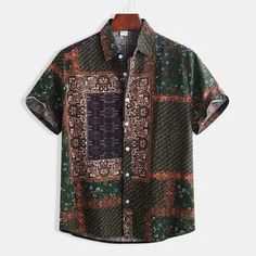 Mens Cotton Ethnic Style Patchwork Printed Casual Loose Short Sleeve Shirt is designer and cheap on Newchic. Ethnic Fashion, Men's Fashion, Fashion Shirts, Fashion Online, Style Casual, Men Casual, Comfy Casual, Chemise Fashion, Cotton Harem Pants