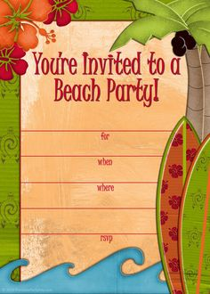 Free printable #beach party #invitations from PrintablePartyInvitations.Blogspot.com