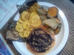 Tofu burger, potatoes, plantain chips with seaweed my favorite food...
