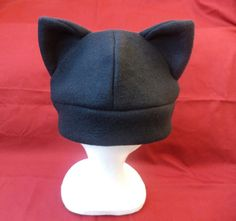 Solid Black Kitty Cat Hat CREEPY CUTE Anime Cosplay Beanie $14.95