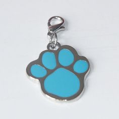 Dog Necklace Charm Paw Print Stainless Steel Pendant Tag Blue Accessory Cat Pet  #FoxyRoxyShop