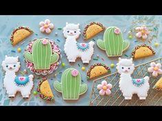 Llama cactus and taco cookies! Sugar Cookies Recipe, Royal Icing Cookies, Cookie Recipes, Cookie Ideas, Iced Cookies, Cactus Tacos, Llama Birthday, 22nd Birthday, Birthday Cakes