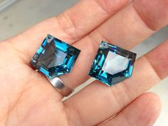 one pairs london blue topaz drilled top size 23x18mm by vlvp, $49.99