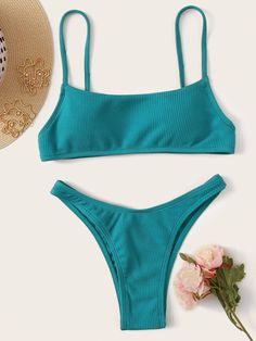 Ribbed Spaghetti Strap Top With High Cut Bikini Set | ROMWE