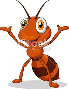 Cute ant cartoon hand waving Royalty Free Stock Vector Art Illustration