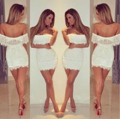White Women Summer Bandage BodyCon Lace Evening Sexy Party Cocktail MINI Dress