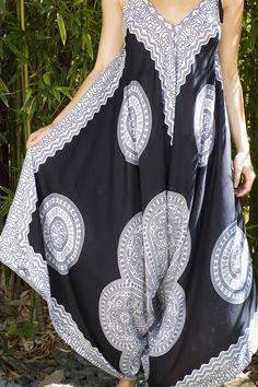 e71164a4ba4 Bali Prema Black and White Mandala Wide Leg Gypsy Jumpsuit