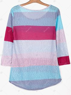 Stylish Scoop Neck 3/4 Sleeve Colored Striped Women's T-Shirt - COLORMIX S
