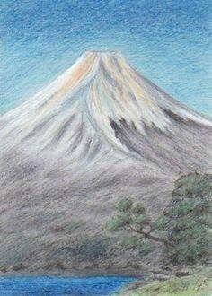 Mount Fuji, pastel and pencil by Jana Haasová Mount Fuji, Volcanoes, Mount Rainier, Painters, Pencil, Pastel, Statue, Mountains, Travel