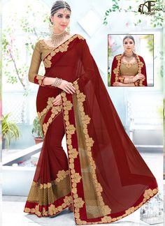 Party Wear Saree Chiffon Maroon Lace