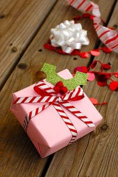 Pink and peppermint wrapping DIY paper - just like a holiday candy shop. @BabyCenter