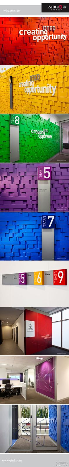 but the idea of color, texture, and signage working together for great wayfinding. Office Signage, Office Branding, Wayfinding Signage, Signage Design, Environmental Graphic Design, Environmental Graphics, Vitrine Design, Design Commercial, Sign System