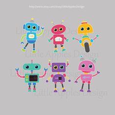 Robot Clip Art / Robot Clipart / Robot by LittleApplesDesign