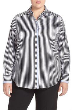 Foxcroft Solid Trim Stripe Shirt (Plus Size)
