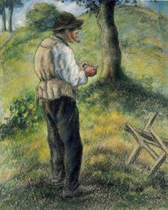 Father Melon Lighting his Pipe by Camille Pissarro      Size: 46x56.5 cm  Medium: pastel on paper