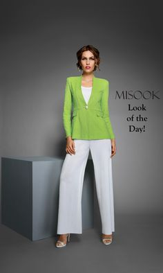 Say hello to spring with this bright Tailored Fit jacket paired with white wide leg pants!