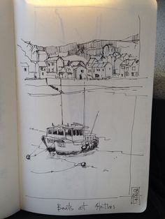 A line sketch of Staithes harbour