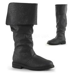 "1"" Flat Heel Cuffed Knee High Renaissance Boot, Inside Zip Closure Funtasma ROBINHOOD-100 S =Men's Size 8-9 M =Men's Size 10-11 L =Men's Size 12-13 XL=Men's Size 14"