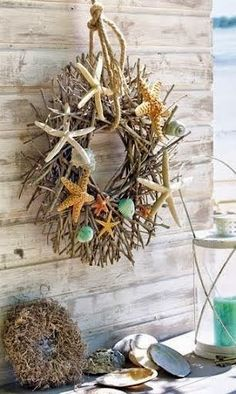 Coastal Wreath: Get a Grapevine Wreath or Twig Wreath from your local craft or floral store. Give it a nautical touch by hanging it off a rope, and decorate it with Beach Finds that reflect the season. Coastal Fall, Coastal Wreath, Coastal Decor, Starfish Wreath, Coastal Style, Driftwood Wreath, Coastal Living, Nautical Wreath, Seaside Decor