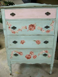 Decoupage mint green and pink roses dresser.
