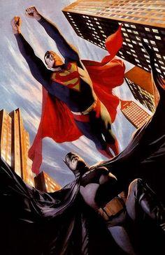 Superman and Batman by Alex Ross--Worlds Finest Comic Book Characters, Comic Character, Comic Books Art, Comic Art, Alex Ross, Batman Et Superman, Superman And Lois Lane, Batman Arkham, Arte Dc Comics