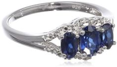 Sterling Silver Created Ceylon Sapphire and Diamond Accented Ring, Size 7