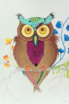 #Drawing of an #owl on A2 size paper.  Used materials: - #cansonpaper  #copicmultiliner #pencil  #promarkers #color  #retro  #vintage #flowers
