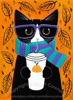 Autumn Tuxedo Cat With Coffee Original Cat Folk Art Painting Illustration Art, Illustrations, Cat Posters, Whimsical Art, Cat Love, Crazy Cats, Cool Cats, Cat Art, Art Lessons