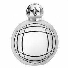 """Lampe Sweet Bubble Satinée. Résolument graphique, cette lampe en verre dépoli est habillée de chromos noirs. Son décor au design géométrique, donnant une impression de """"trompe l'oeil"""", est réalisé par le designer Jean-Baptiste Sibertin-Blanc."""