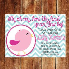 First Birthday Invitation  birds kids birthday by JoyfulINK, $10.00