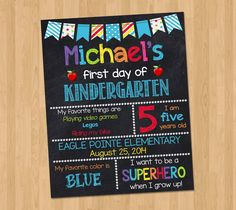 First Day of School Chalkboard Sign First by KidsPartyPrintables, $8.00