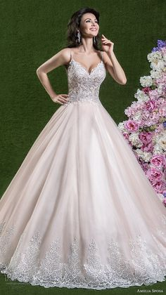 amelia sposa 2018 bridal spaghetti strap sweetheart neckline heavily embellished bodice romantic pink a line wedding dress open scoop back chapel train (berta) mv -- Amelia Sposa 2018 Wedding Dresses