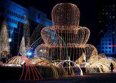 Illuminated fountain in the Kazakh capital of Astana - Shamil Zhumatov/REUTERS
