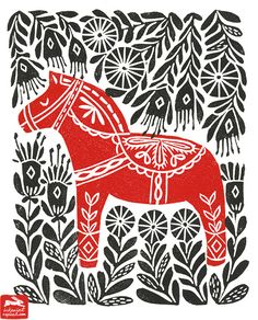 dala horse, illustration, andrea lauren, ink print repeat, andrea lauren, dala…