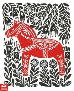 dala horse, illustration, andrea lauren, ink print repeat, andrea lauren, dala horse, woodcut, linocut, folk art,