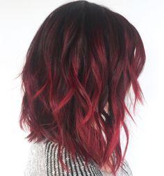 burgundy balayage on dark hair