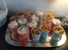 Baby boy shower treat cups. Regular Dixie cups wrapped in scrapbook paper