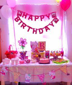 Hello kitty birthday party table decoration.