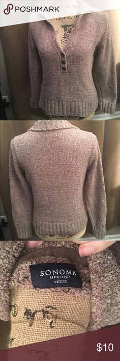 Sonoma petite sweater Sonoma tan button v-neck petite sweater missing size tag but measures a small 17' chest and 13' from underarm to bottom of sweater Sonoma Sweaters