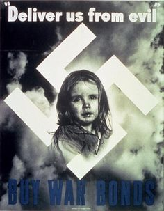 """""""Deliver us from Evil"""", child with Swastika, US 2nd World War Poster, Anon, c.1942"""
